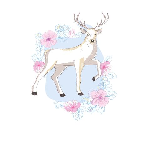 isolated deer, vector, illustration , big antlers flowers on the horns