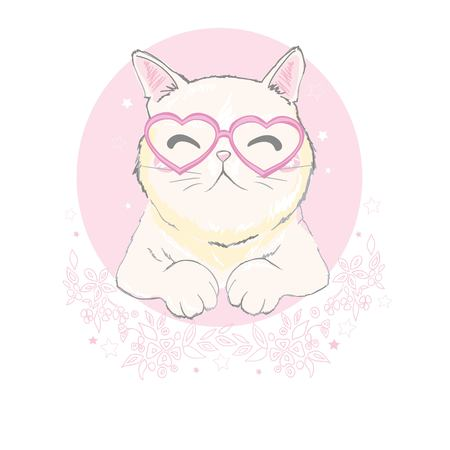 ute cat with glasses design. Kids illustrations for school books and more.