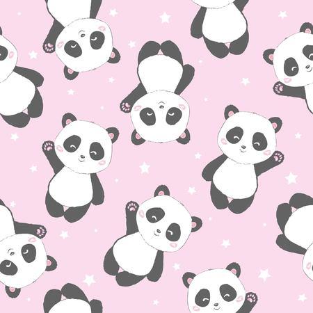 Patrón de Panda de dibujos animados lindo inconsútil, vector, animal