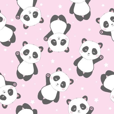 Seamless Cute Cartoon Panda Pattern, vector, animal