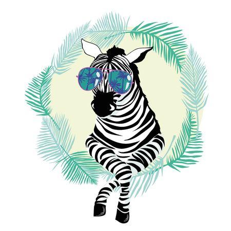fashion portrait zebra with glasses, vector, illustration, cute animal