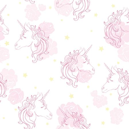 Unicorn seamless pattern. Unicorns with rainbow mane and horn on flat purple background with stars. Vector illustration.