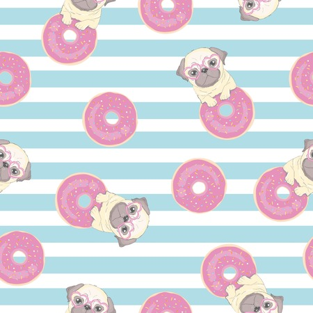 Pink seamless pattern with funny pug and donut. 矢量图像