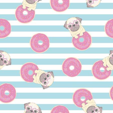 Rosa de patrones sin fisuras con divertido pug y donut.