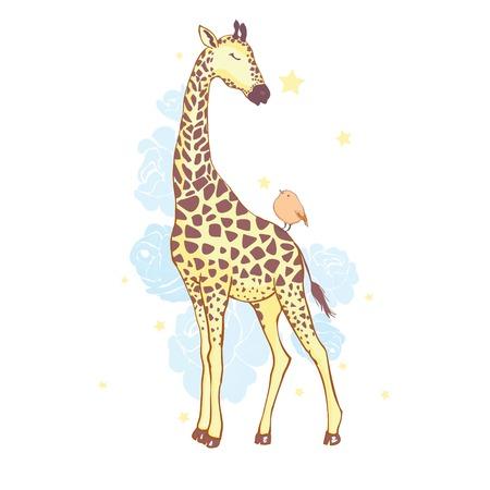 śliczna żyrafa na białym tle ikona wektor ilustracja projekt Ilustracje wektorowe