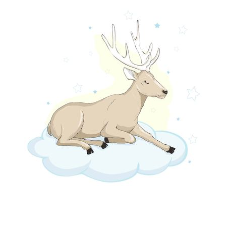 Deer cartoon illustration design. Cute reindeer animal vector.