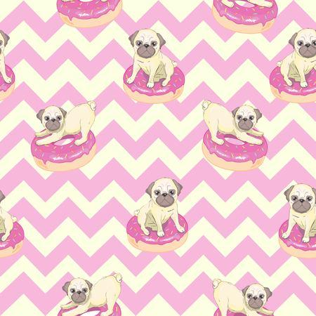 Pink seamless pattern with funny pug and donut. Ilustração
