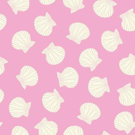 Hand drawn vector illustrations - seamless pattern of seashells. Marine background.