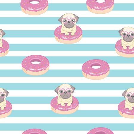 Patrón transparente rosa con divertido pug y donut.