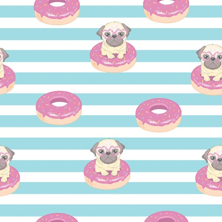 Pink seamless pattern with funny pug and donut. Vectores