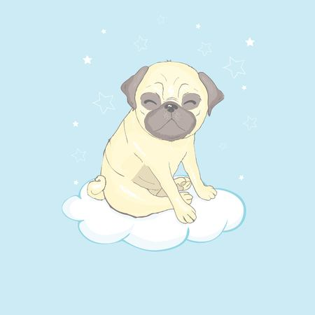 Pug dog cartoon illustration. Cute dog, animal themed design element isolated on white. Reklamní fotografie - 121835655
