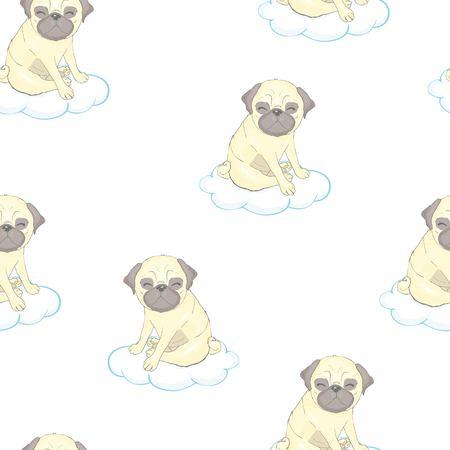 cute pug vector pattern