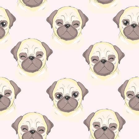 Vector cute pug vector pattern Ilustração