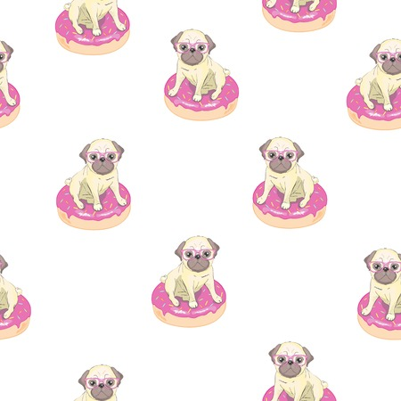 Pink seamless pattern with funny pug and donut. Illustration