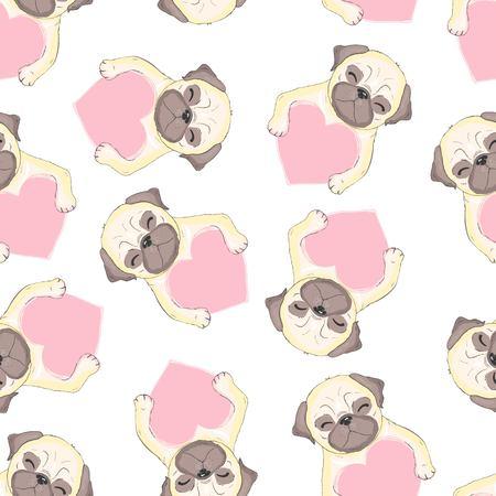 Vector cute pug vector pattern Illustration