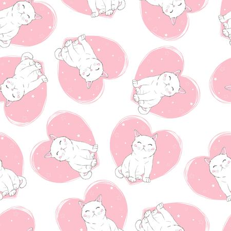 Cute Cats Pet Seamless Icons, Pattern And Background  イラスト・ベクター素材