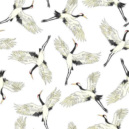 grue, modèle, illustration vectorielle fleur oiseau volant