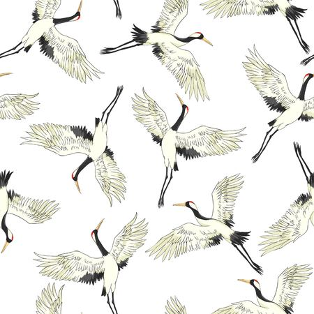 Kranich, Muster, Vektorillustration fliegende Vogelblume