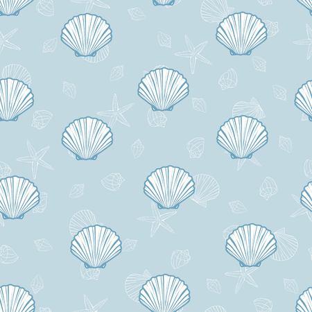 Seashells pattern, vector, illustration. Marine background.