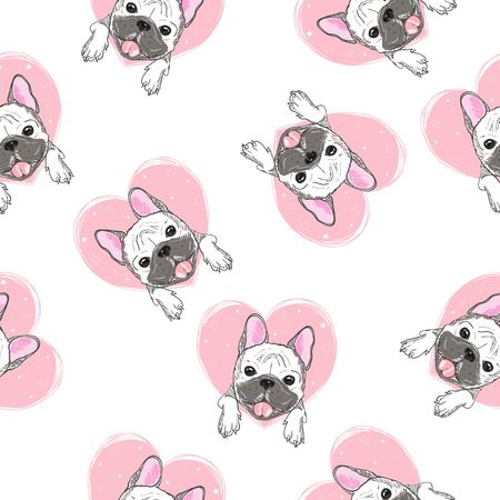 cute pug vector pattern Banco de Imagens - 121835774