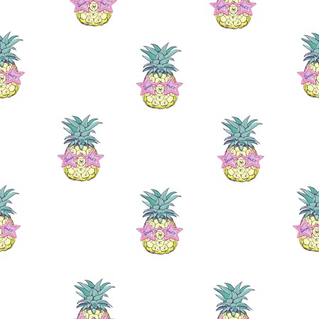 Cute seamless print with pineapples 向量圖像