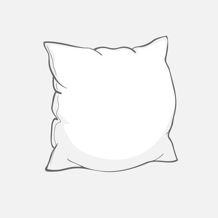 sketch vector illustration of pillow, art, pillow isolated, white pillow, bed pillow  イラスト・ベクター素材