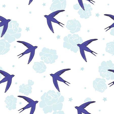 swallow bird pattern Ilustração