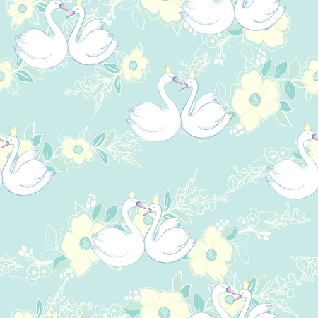 Seamless pattern with white swans. Vector illustration.