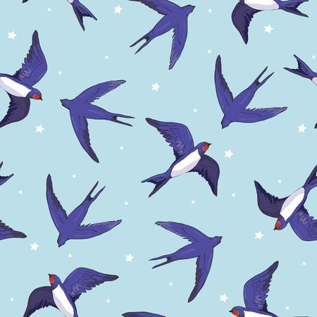 swallow bird pattern Иллюстрация