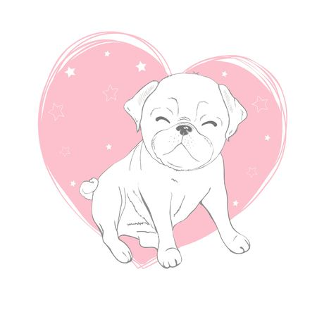 Pug dog cartoon illustration. Cute dog, animal themed design element isolated on white.