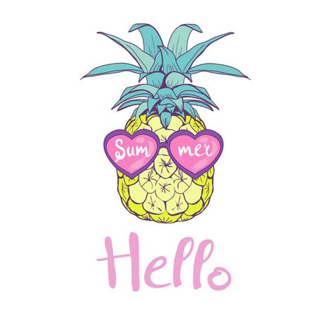 pineapple with glasses design, exotic, background, food, fruit, illustration nature pineapple summer tropical vector drawing fresh