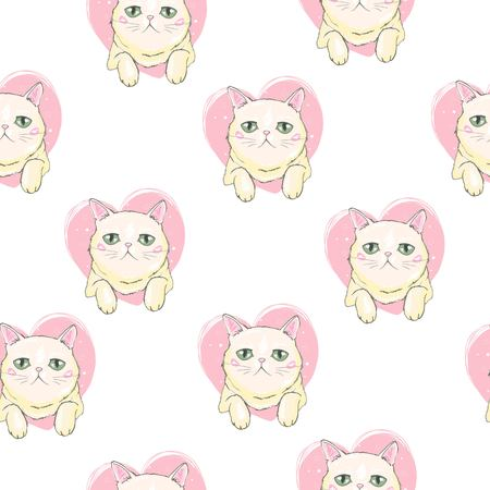Cute Cats Pet Seamless Icons, Pattern And Background 向量圖像