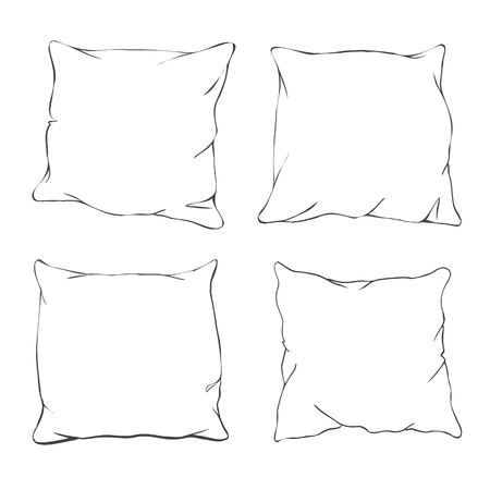 Vector cartoon decorative pillows. Hand drawn set of decorative pillows. Doodle illustration