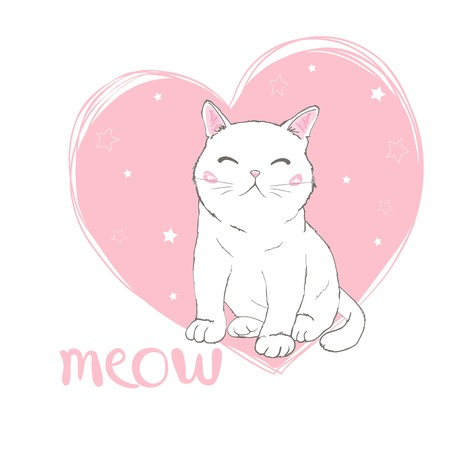 Vector hand drawn cute cats. Isolated illustration on white background