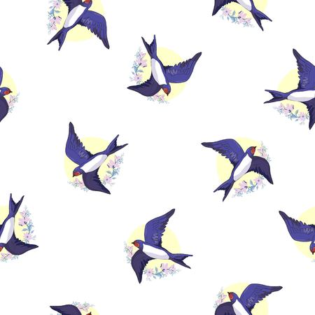 swallow bird pattern 向量圖像