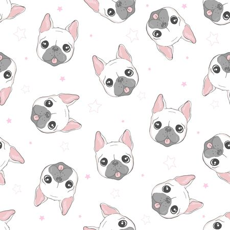 Dog seamless pattern french bulldog paw background