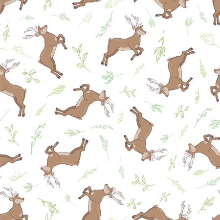 seamless deer pattern illustration 向量圖像