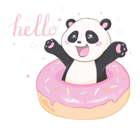 Illustration: cute cartoon Panda sitting in a donut 向量圖像