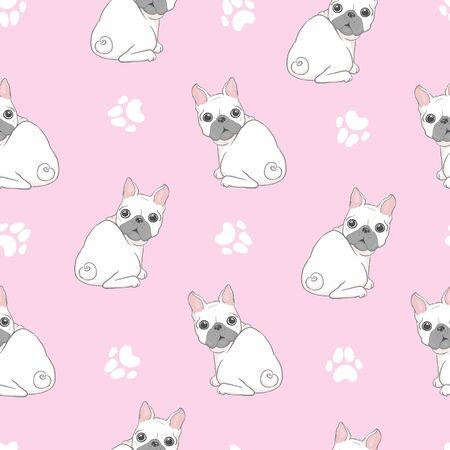Dog seamless pattern french bulldog paw repeat background