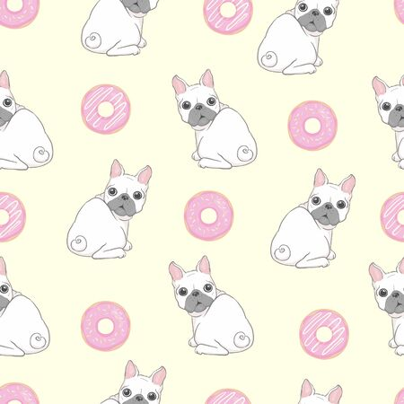 Pink seamless pattern with funny pug and donut. 向量圖像