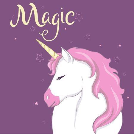 Cute vector unicorn. Magic character with pink mane.