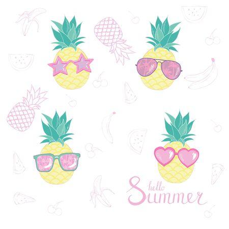 Set of pineapples.