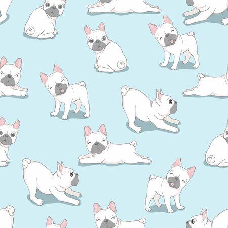 Hond Franse buldog met glazen naadloos patroon