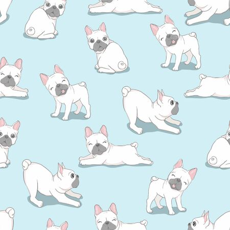 Dog French bulldog with glasses seamless pattern