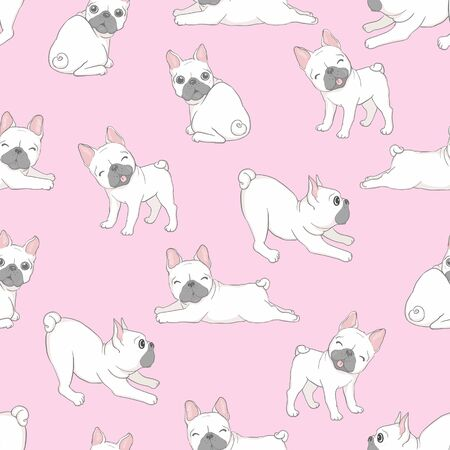 Dog seamless pattern french bulldog paw repeat background