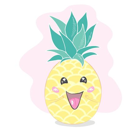 Pineapple, cute character for your design 向量圖像