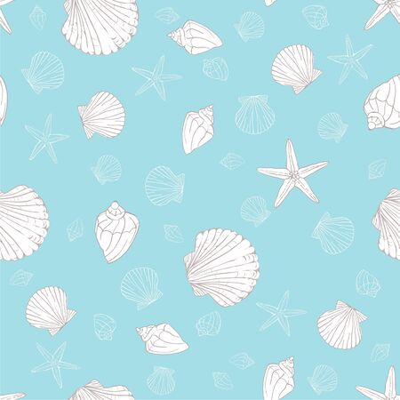 Seashell seamless pattern background. Ilustrace