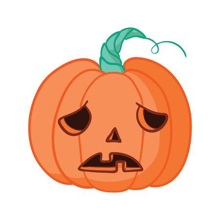 Cartoon halloween pumpkin wearing witch hat isolated 일러스트