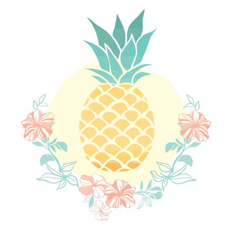 Vector of pineapple, purple hibiscus flower, isolated object on white background Illusztráció
