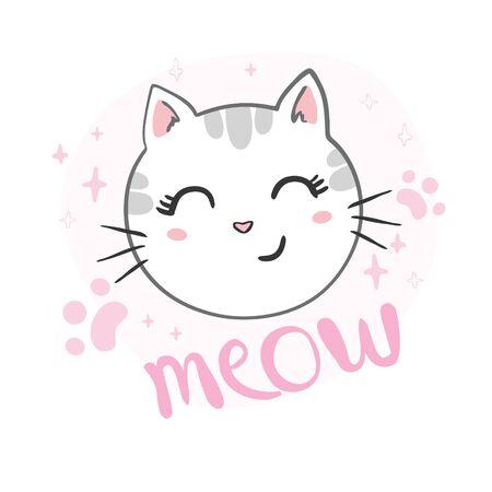 Cute cat design. Children illustrations for childrens clothing.
